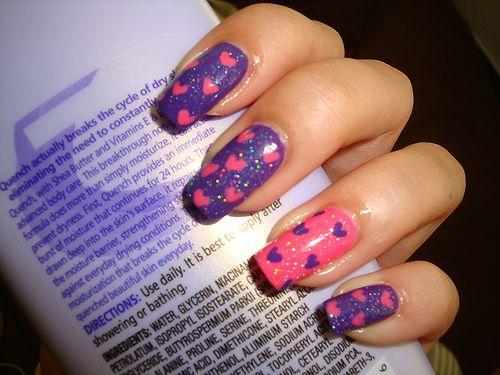 : Fingernails Hearts, Heart Nails, Purple Hearts, Nailart, Color, Makeup, Valentine, Pink Hearts, Nail Art