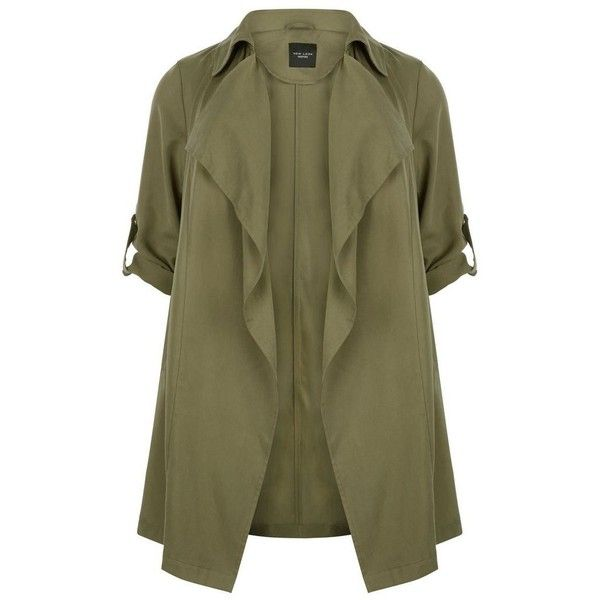 Plus Size Khaki Waterfall Trench Coat ($57) ❤ liked on Polyvore featuring outerwear, coats, khaki coat, longline coat, waterfall coat, long sleeve coat and brown coat