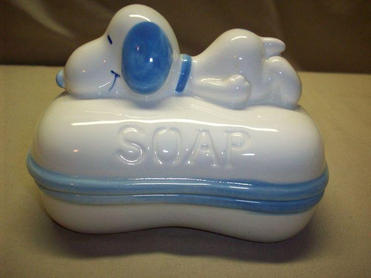 """Snoopy Peanuts ceramic soap dish """"blue - trinket box"""" NEW"""