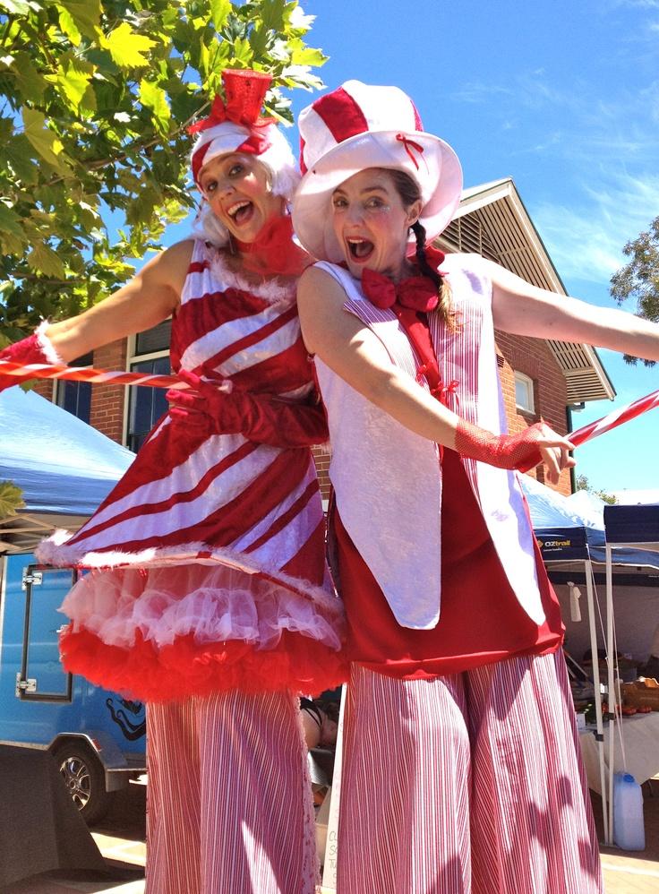 Lolly & Candy - stilt walkers having Xmas fun!