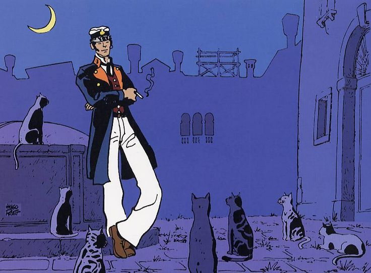 Hugo Pratt - Corto Maltese: Fable of Venice - Sailor suit, brown hair, ring in his left ear. The slender and elegant. A glimmer of fun and irony, in his eyes. The air is kept at bay. The art of observing people and things with detachment. Some say pirate. He claims to be a gentleman of fortune..