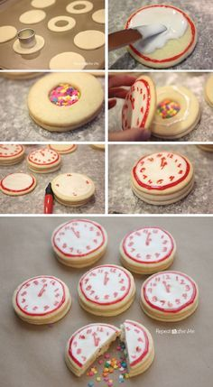 New Years Confetti Clock Cookies - 15 Buoyant DIY New Year's Eve Party Ideas…