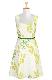 Spring leaf print linen dress
