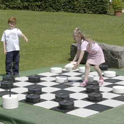 "Giant outdoor checkers game - saw this idea at the beach.  ""Board"" was made with concrete squares.  Plan to have this at Ellijay house - just need cheaper checkers.  :)"