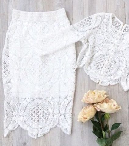 Lace top and skirt two piece