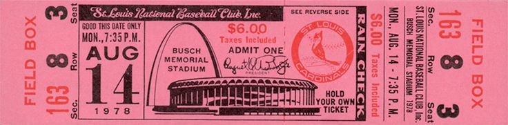 The  Regular Season  ticket for the St Louis Cardinals game vs the Houston Astros on Aug 14, 1978.