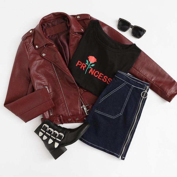 Faux Leather Buckle Belt Hem Moto Jacket