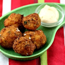 The ultimate bar food: Brazilian bolinhos (salt cod balls), with a chipotle mayo dipping sauce.