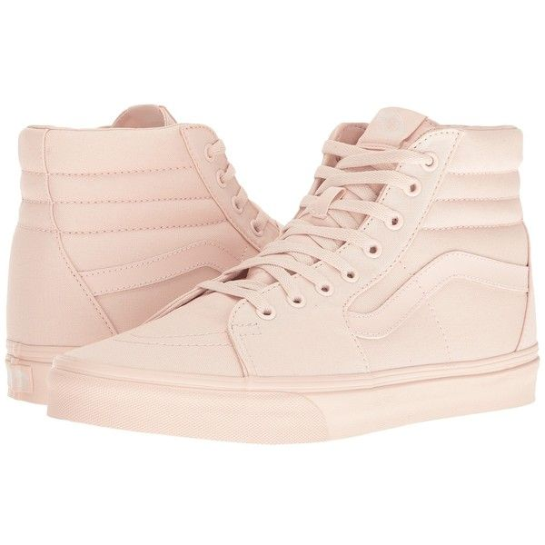 Vans SK8-Hi ((Mono Canvas) Peach Blush) Skate Shoes ($60) ❤ liked on Polyvore featuring shoes and sneakers