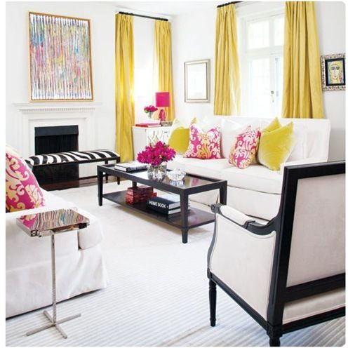 Decor Inspiration!  I am obsessed with black and white styling but adding yellow and pink as a punch of color is genius!! LOVE