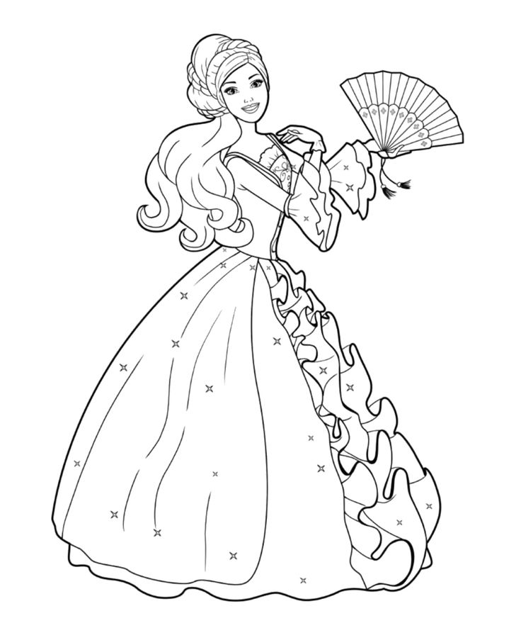 Barbie doll dancing coloring pages kids coloring pages for Barbie doll coloring pages