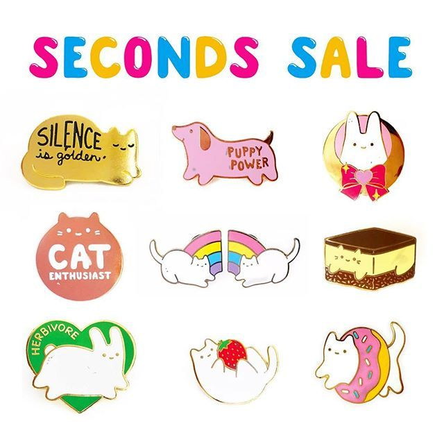 My next seconds sale will be happening sometime this weekend! 🎉 So if you're looking to pick up some slightly flawed, less-than-perfect pins, then please keep your eyes peeled for updates about the exact day/time! 👀 All pins will be 50% off regular price. 💘