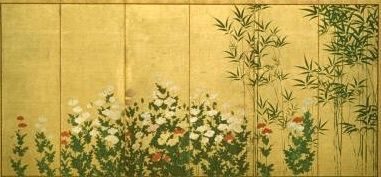 BAMBOO AND POPPIES. EARLY 17TH CENTURY. KANO SHIGENOBU, JAPANESE, ACTIVE 1ST HALF OF 17TH CENTURY. One of a pair of six-panel screens; ink, color and gold on paper. Seattle Art Museum.