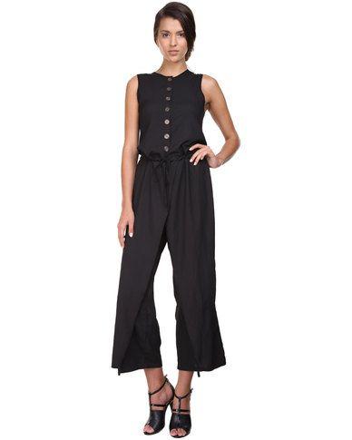 Ilan Button Jumpsuit with Silk Organza Black