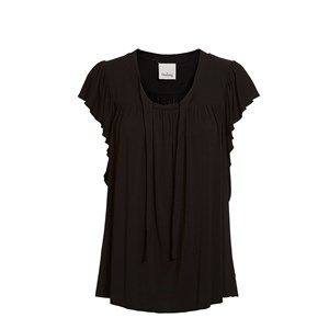 ANASTASIA top w tie and garder, black. Loose and feminine summer top with butterfly sleeves. Made of modal which is coloured by the eco-tex 100 standards.