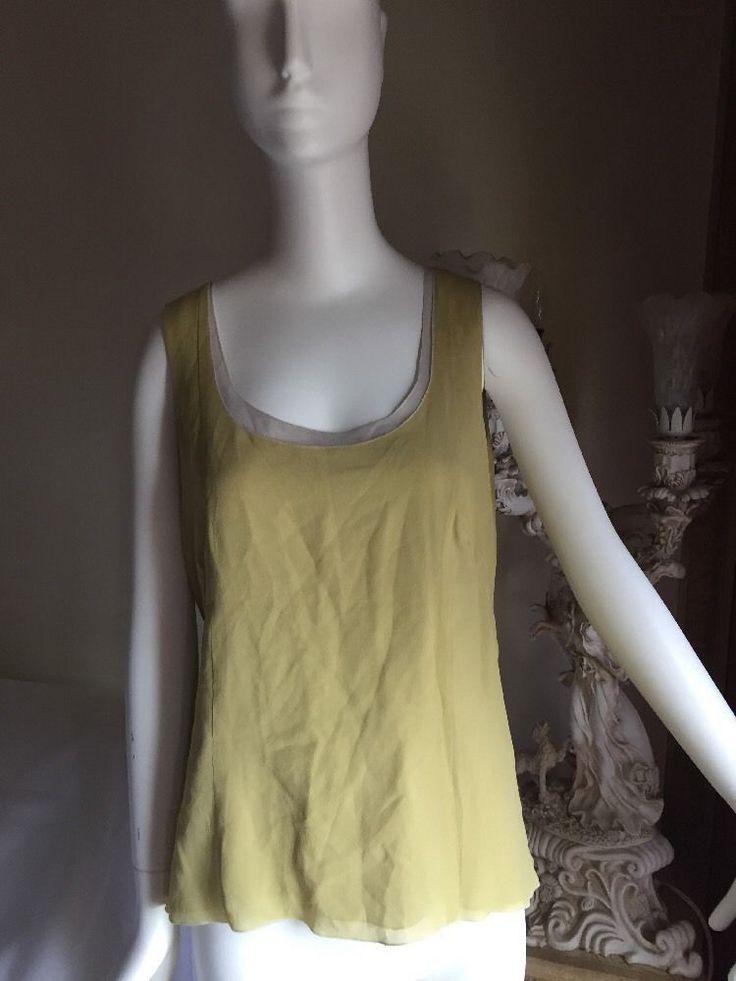 Akris Blouse 042F44Us12  Yellow/Beige 100%silk