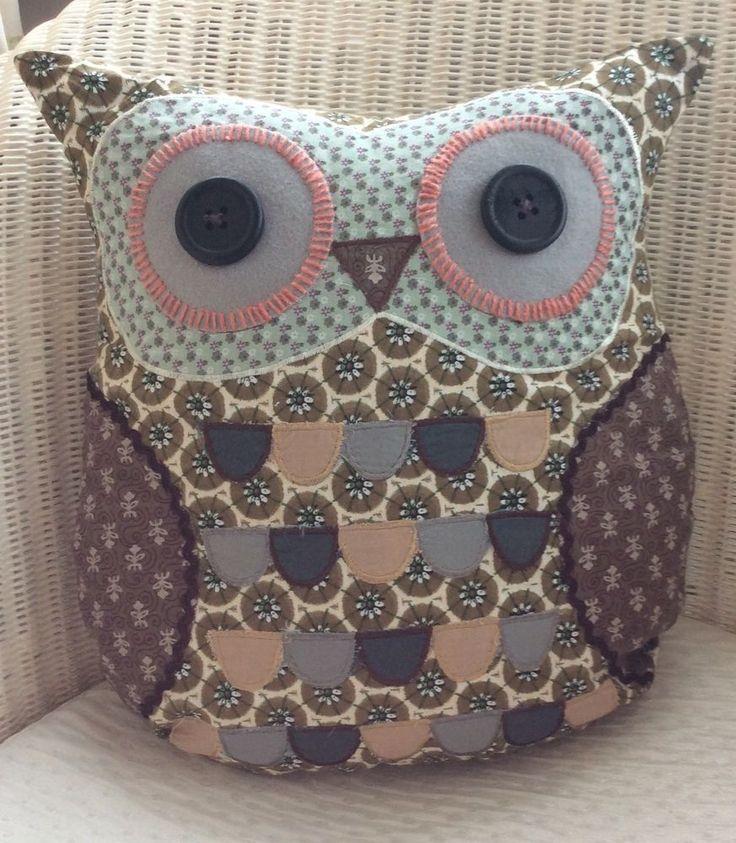 Frank Owl Cushion Brown Patchwork Chic & Shabby Floral Fabric Owl Cushion