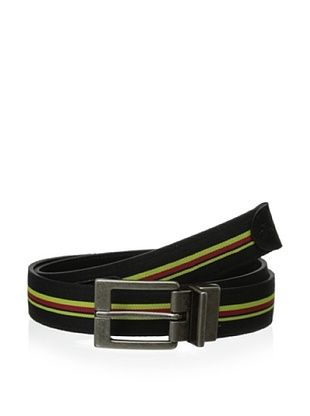 38% OFF Original Penguin Men's Reversible Striped Web Leather Belt (Black)