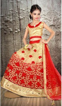 3fb5ab9a71 Cream Red Color Net Embroidery Girls Lehenga Choli | 215924821 #girllehenga  #girldress #kidswears