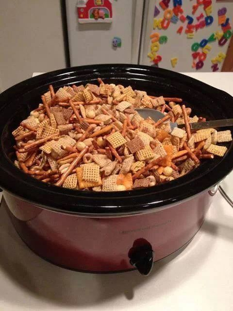 Fill crockpot w your favorite cereal. Melt 1/4 cup butter, add 4 tsp Worcestershire sauce, 1 tsp salt, 1 tsp garlic powder, 1/2 tsp onion powder, 1/4 tsp suger - dissolve and stir. Pour over cereal and mix. Cook on low for 2.5 hours, stir every 30 min.