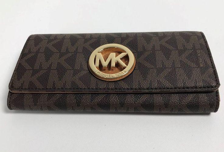 NEW Michael Kors PVC Signature Fulton Flap Continental Wallet Brown #MichaelKors #Wallet