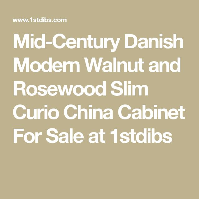 Mid-Century Danish Modern Walnut and Rosewood Slim Curio China Cabinet For Sale at 1stdibs