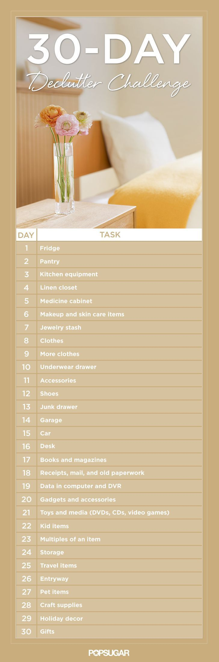 Get Organized With the 30-Day Declutter Challenge #organization #home