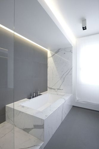 Bathroom in white marble . The Z House by EXiT architetti associati. Photo by…