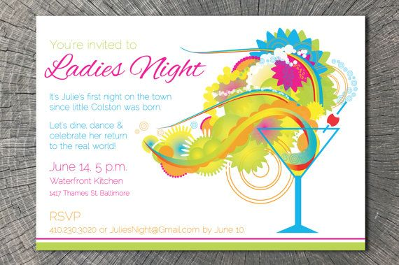 PRINTABLE Cocktail Invitation, perfect for a ladies night ...