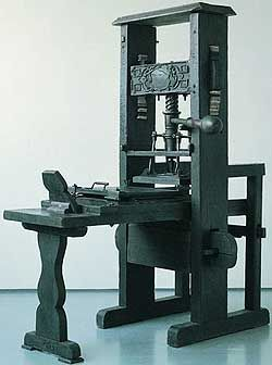 A 15th century printing press similar to the one Gutenberg invented.