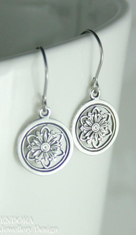 Hypoallergenic surgical steel earrings - great for sensitive ears  | Silver flower earrings | #EndoraJewellery, $16.00