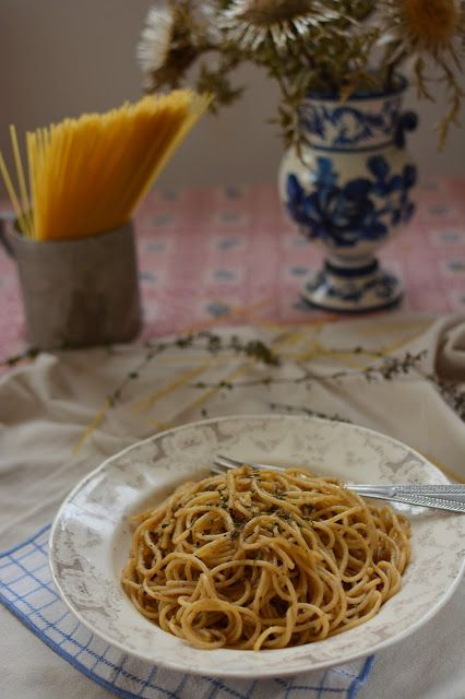 Spaghetti in Anchovy Sauce and  Herb Scented Bread Crumbs