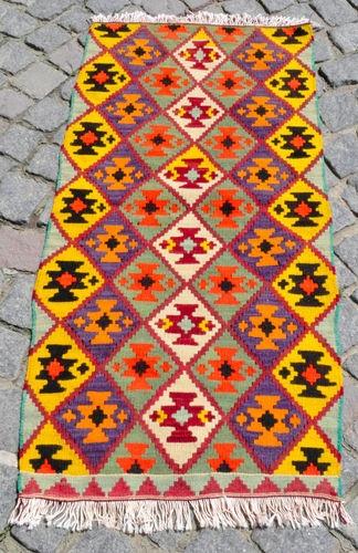 Anatolia Turkish Kilim 22 x 46 Hand Woven Corum Mini Rug 56 cm x 116 Cm   eBay
