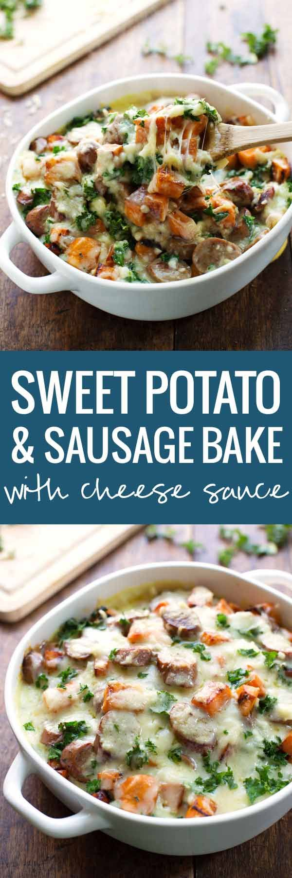 Sweet Potato, Kale, and Sausage Bake with White Cheese Sauce - comfort food featuring a handful of pantry staples and a few super healthy ingredients.   pinchofyum.com