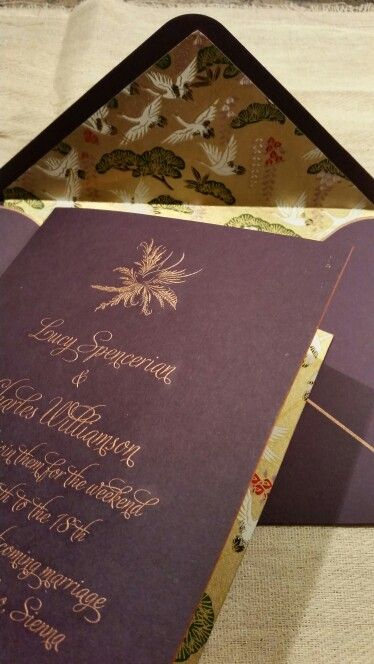 Check out the envelope & invitation  linings...Japanese Chiyogami beauty