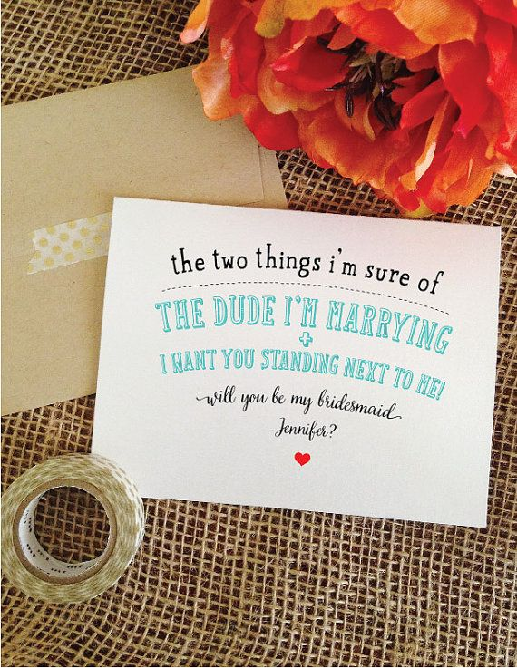 Funny Will you be my bridesmaid funny card by WeddingAffections
