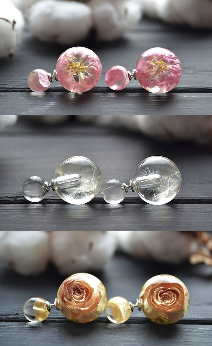 Double Sided Earrings With Real Flowers Resin E Etsy Goods