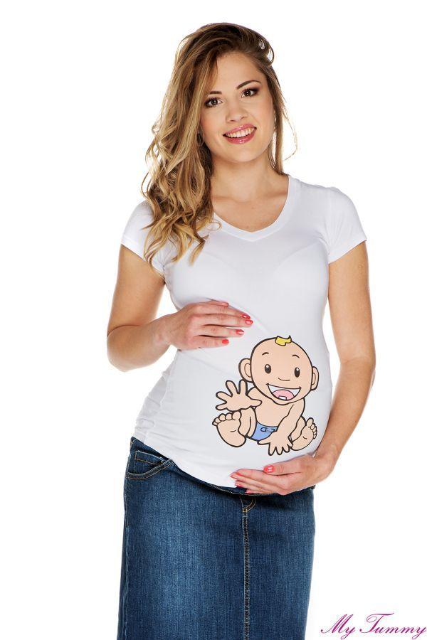 T-shirt ciążowy Chłopiec II biały