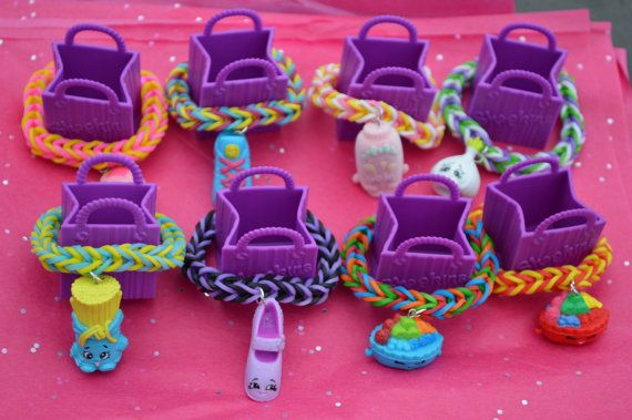Shopkins Party Favor Pack Of 8 Rainbow Loom by JanviaBoutique