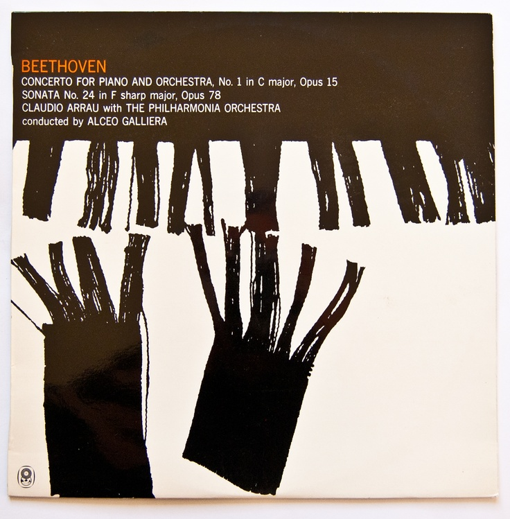 Beethoven Piano Concerto No.1/Sonata 24. Designed by Rob Hall for the World Record Club.