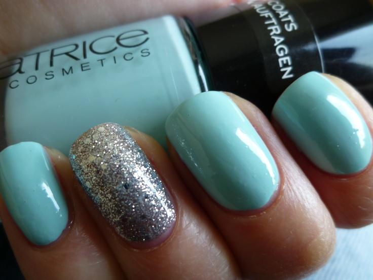 catrice - 540 Am I blue or green?: Nails Nails, Accent Nails, Blue Nail Polish, Hair Nails 3, Baby Blue Nails, Green, Beauty, Women S Nails, Nail Art
