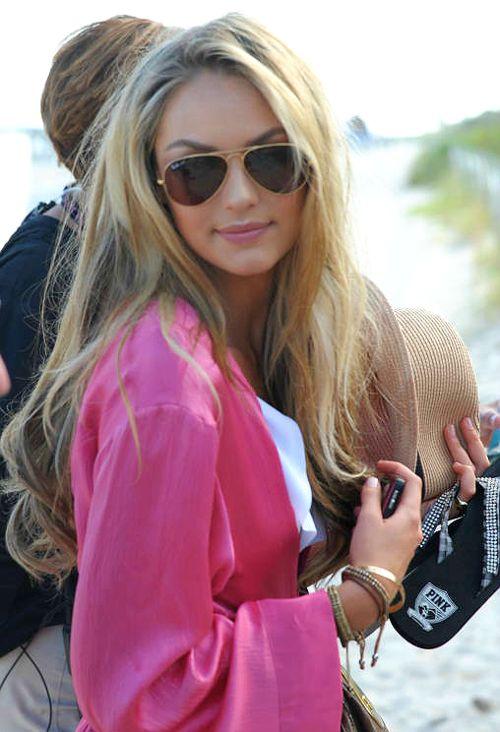 long curls + pretty pink wrap + aviators   The Beauty Department    Pinterest   Ray ban sunglasses, Ray ban outlet and Cheap ray bans b851faa49f7b