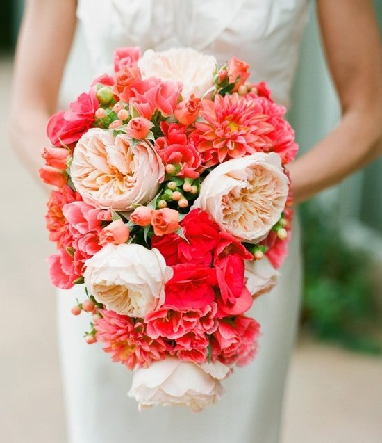A  beautiful coral bouquet