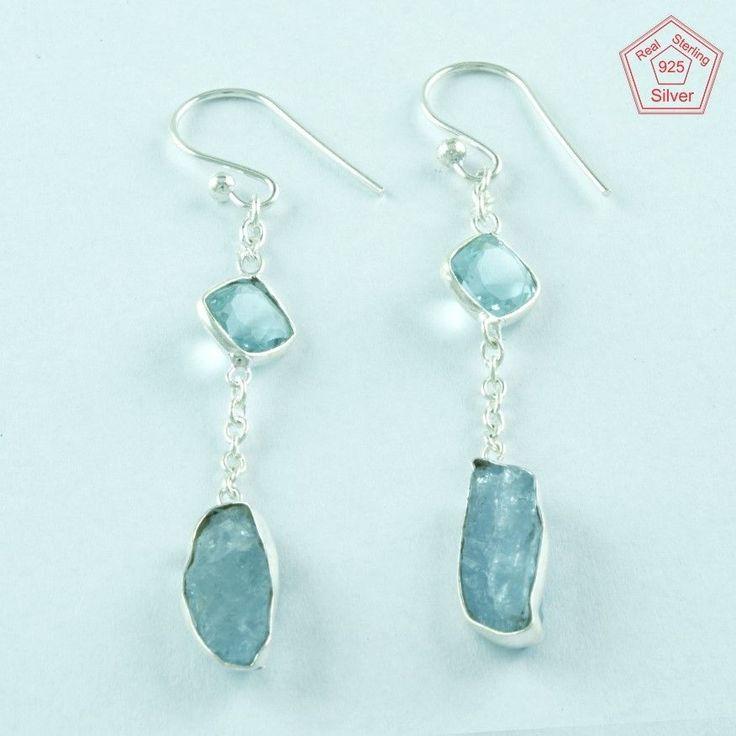 Geniune Blue Topaz & Tanzanite Stone 925 Sterling Fashion Earrings E3621 #SilvexImagesIndiaPvtLtd #DropDangle