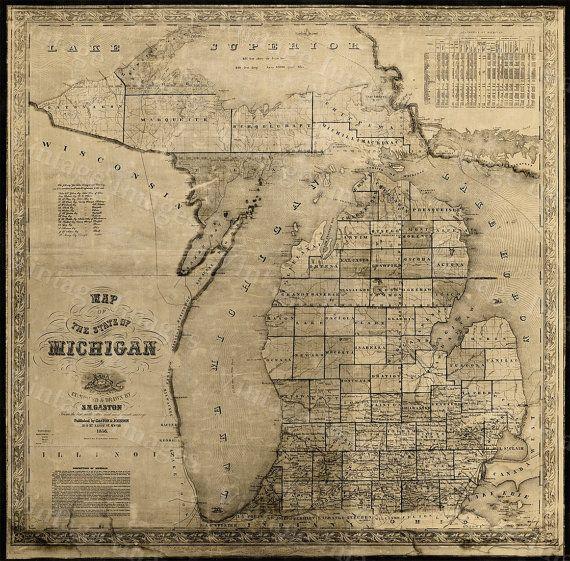Vintage Michigan map vintage 1856 old map of by VintageImageryX