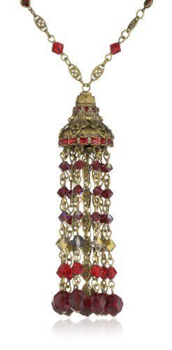 """Sorrelli """"Ruby Cocktail"""" Long Strand Ornate Red and Gold Crystal Tassel Pendant Necklace Sorrelli. $198.00. Made in China. Items that are handmade may vary in size, shape and color. Antique gold-tone metal with 4 inch extender"""