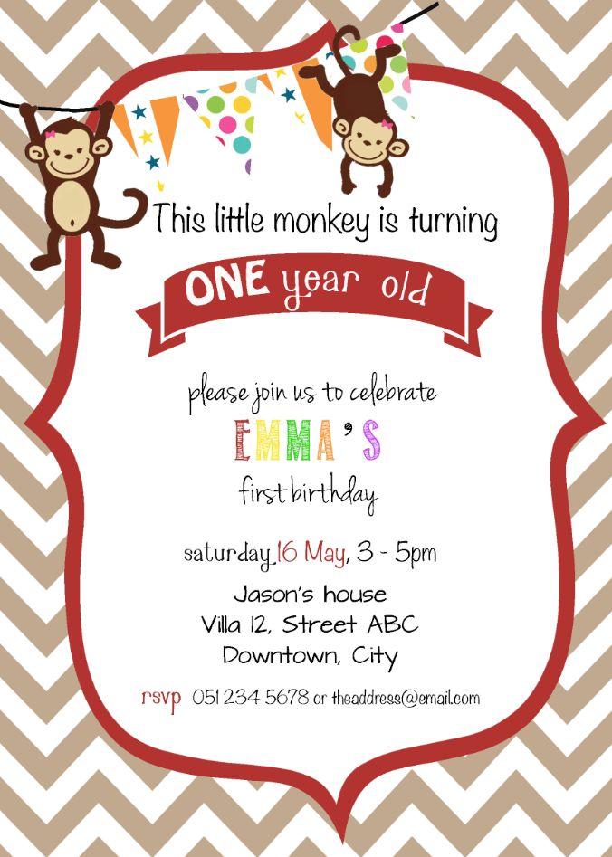 Birthday Invitation - Monkeys (Girl)