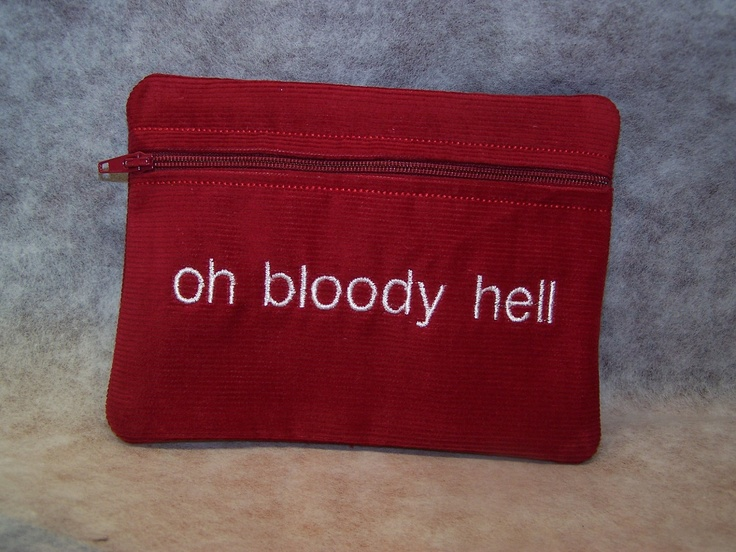 Oh Bloody Hell  Tampon & Maxi Pad Taxi Zippered Fabric Purse Pouch / Tampon Keeper. $11.95, via Etsy.