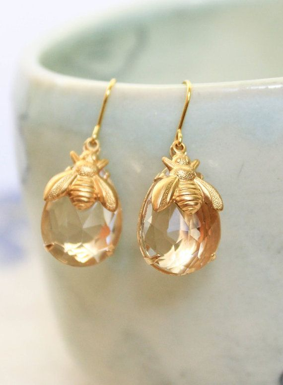 Honey Bee Earrings Summer Jewelry Gold Brass by apocketofposies