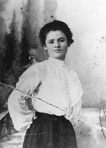 """Clara Lemlich led the Uprising of N.Y. garment workers. """"I am a working girl, one of those striking against intolerable conditions,"""" she told the crowd. """"And I have no further patience for talk."""" 700 of the women she led on the strike were arrested, 19 were sentenced to labor camps. The next year a fire in her workplace, the Triangle Shirtwaist Factory, killed 146 workers: steel doors had been bolted shut to prevent workers from going on breaks. She lived to be 96."""